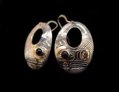 """Bear Earrings, Chris Cook. Sterling Silver and onyx, 1.5"""". Northwest Coast First Nations Jewelry."""