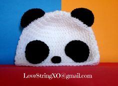 Panda Crochet Beanie / Child hat /  Photo Props / Etsy Baby / Crochet Bebe / Handmade gift ideas. $25.00, via Etsy.