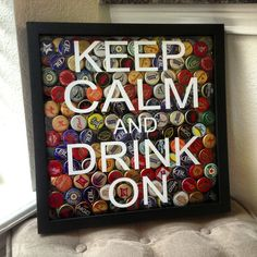 DIY bottle cap shadow box. I had a local vinyl company make the decal, shadow box form the craft store and now I have a place for my husbands bottle cap collection!