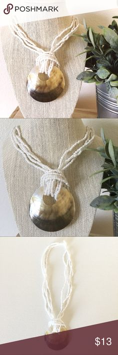 Abalone shell necklace with white beaded strands This is such a perfect necklace for summer! Purchased from a boutique by the beach. Genuine abalone shell 🐚 Jewelry Necklaces