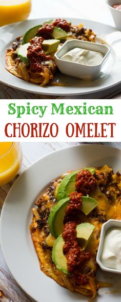 A spicy mexican chorizo omelet jam-packed with chorizo onions and peppers and topped with cheese avocado and salsa. Based on my favorite breakfast dish the Hey Lucy! Chorizo Breakfast, Mexican Breakfast Recipes, Breakfast Dishes, Mexican Dishes, Eat Breakfast, Breakfast Casserole, Brunch Recipes, Mexican Food Recipes, Food Cakes
