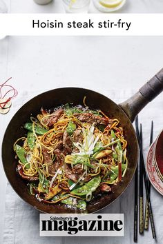This hoisin steak stir-fry is an easy midweek meal when you don't have a lot of time. Try making it with your favourite veg – mixed peppers and Tenderstem broccoli also work great. Get the Sainsbury's magazine recipe Steak Stirfry Recipes, Stir Fry Recipes, Beef Recipes, Easy Weekday Meals, Midweek Meals, Quick Easy Meals, Steak Stir Fry, Curry In A Hurry, Magazine Recipe