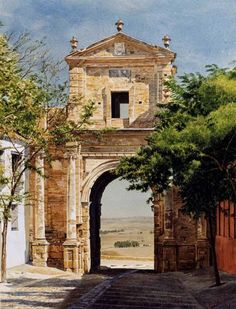 Door Carmona  \\ Watercolor painting by the Spanish artist Jose Gonzalez Bueno (r.1957)