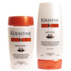 Kerastase SHAMPOO CONDITIONER COMBO NUTRITIVE BAIN SATIN 1 8.5oz AND LAIT VITAL 6.8oz -- Find out more at the image link. #hairenvy