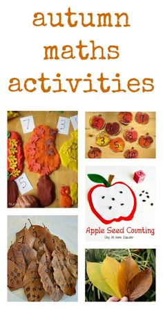 Lots of ideas for autumn math activities Autumn Activities For Kids, Fall Preschool, Preschool Math, Fun Math, Preschool Lessons, Kindergarten Math, Number Activities, Classroom Activities, Stem Activities