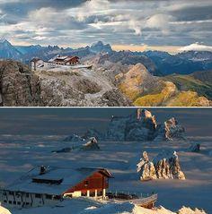 """Bom dia! :) Você gosta de dirigir? Você gosta de montanhas? Então, você não pode perder o tour panorâmico pelas Dolomitas. Temos 12 roteiros diferentes; vamos começar com a """"noite inesquecível a 2752 metros de altura!"""" no Refúgio Lagazuoi. ;)  #dolomitas #rumos #montanhismo #roteiros"""
