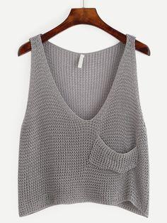 crochet tank tops Grey Knit Crop Tank Top With Front Pocket -SheIn(Sheinside) - top to do Crochet Tank Tops, Knitted Tank Top, Crochet Top, Simple Crochet, Cropped Tank Top, Crop Tank, Embellished Crop Top, Diy Kleidung, Summer Knitting