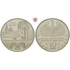 Bundesrepublik Deutschland, 10 Euro 2011, Hamburger Elbtunnel, J, bfr.: Kupfer-Nickel-10 Euro 2011 J. Hamburger Elbtunnel.… #coins