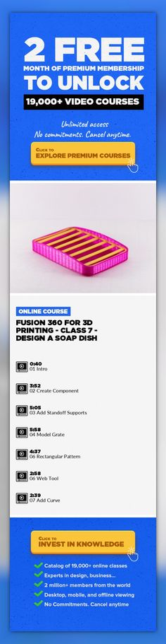 Fusion 360 for 3D Printing - Class 7 - Design a Soap Dish Illustration, Prototyping, 3D Design, CAD, 3D Modeling, Industrial Design, Creative, 3D Printing, Fusion 360 #onlinecourses #onlineprogramscomputerscience #CoursesDesign   Use Fusion 360 to design a Soap Dish Learn how to design using components. The end product will be a useful soap dish that can be 3D printed. We'll also learn how to us...
