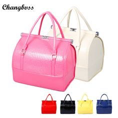 Only $69 , PU Leather Handbags for Women Travel Makeup Organizer Portable Waterproof Cosmetic Bag Detachable Inner Professional Make Up Box