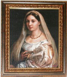 La Donna Velata, Golden Kite Cross Stitch Pattern stitched by Bob Kite, Cross Stitch Patterns, Needlework, Mona Lisa, It Is Finished, Embroidery, Gallery, Artwork, Crossstitch