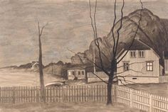 From  Kjerringvik   -   Harald Sohlberg  1907  Norwegian  1869-1935  Pencil, ink wash, and watercolour on tracing paper on card