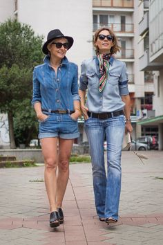 all denimed out (or Britney with Justin on a stroll)☺ I See by Chloé jumpsuit I Rachel Comey wedge mules I Rag&Bone fedora hat I Seven denim shirt I LV scarf I Rock&Republic jeans I #streetstyle #point41