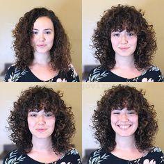 Medium haircut with bangs.