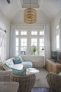 Living Room Decor Cozy, Coastal Living Rooms, Living Room Furniture, Beach Cottage Style, Beach House Decor, Home Decor, Seaside Decor, Beach Houses, Beach Cottages