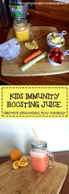 kids immunity boosting juice.  Full of Flu fighting ingredients.  Free Recipe Here!!! http://adventuresathomewithmum.com