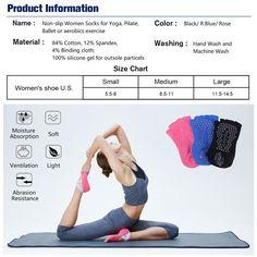 1c5187a516a8c Hylaea Yoga Socks for Women Grip Toeless Socks, Yoga Socks, Pairs, Ballet,
