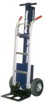 "The P-1 is the smallest stair climber at just 20"" wide. This lightweight machine is actually a regular hand truck with a light duty PowerMate POGO assembly attached. This makes the POGO P-1 our lightest stair climber at just 40 lbs! (18 kg). The P-1 has a max. lifting capacity of 200 lbs., sufficient for most residential or light commerical delivery applications."