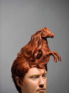"""the ramifications of a bold new haircut"" redheaded stallion hairpiece by Brock Davis for Esquire Magazine"