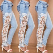 Hot Sexy Women Skinny Jeans Lace Crochet Stretch Denim Pants Slim Fit Trousers