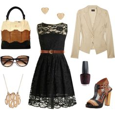 Fall outfit: Black lace tea length dress. Black, brown and cream block-colored leather bag and shoes. Tortoise shell sunglasses. Gold initial necklace and heart earrings. Cream blazer and red wine colored nail polish.