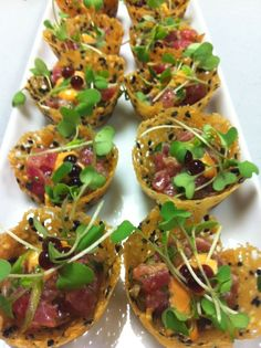 Tuna Tartare Miso Sesame Tuille Cup, Soy Pearls and Wasabi Greens Bakers' Best Catering