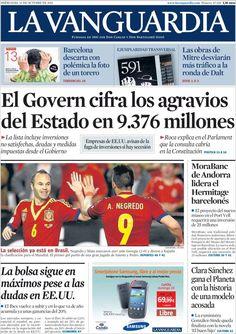Los Titulares y Portadas de Noticias Destacadas Españolas del 16 de Octubre de 2013 del Diario La Vanguardia ¿Que le pareció esta Portada de este Diario Español?