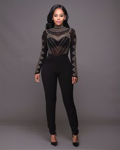 91507dff180 Black Women Rhinestone See Throuth Jumpsuit Nail Beaded Mesh Studded Jumpsuit  Sexy Party Night Club Casual