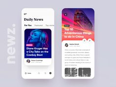 Newz - App UI designed by vijay verma for Orizon. Connect with them on Dribbble; Web Design, App Ui Design, User Interface Design, Flat Design, Best Ui Design, Media Design, Ios News, News Apps, Ui Design Mobile
