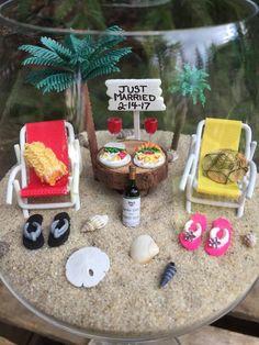 Miniature Beach Scene In A Wine Glass The Perfect Getaway | Etsy Miniature Beach Scene, Diy Wedding Cake Topper, Beach Fairy Garden, Small Palm Trees, Beach Scenes, Beach Chairs, Lounge Chairs, The Perfect Getaway, Wine Glass