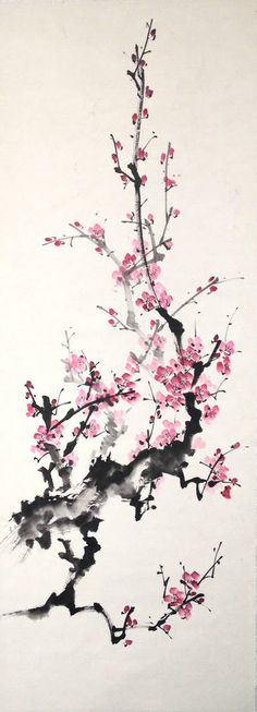 Sumie plum by bsshka on DeviantArt Japanese Artwork, Japanese Painting, Chinese Painting, Cherry Blossom Art, China Art, China China, Blossom Tattoo, Animes Wallpapers, Ink Painting