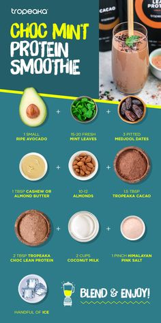 shake to gain muscle almond milk protein shake to gain muscle choc mind protein smoothie Smoothie Detox Plan, Mint Smoothie, Smoothie Drinks, Workout Smoothie, Vanilla Smoothie, Easy Healthy Dinners, Healthy Drinks, Healthy Snacks, Healthy Recipes