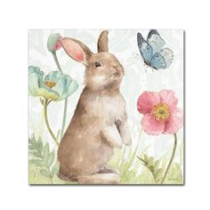 """Trademark Fine Art Lisa Audit """"Spring Softies Bunnies II"""" Canvas Art at Lowe's. This ready to hang, gallery-wrapped art piece features a bunny watching a blue butterfly float over flowers. Pink Canvas Art, Canvas Wall Art, Canvas Prints, Art Prints, Canvas Canvas, Canvas Fabric, Bunny Painting, Easter Art, Easter Decor"""