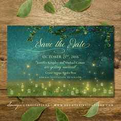 Enchanted Forest Wedding Save the Date, Garden Lights Fireflies Wedding Save the Date, Rustic Garden Fairy Lights Wedding Save the Date, Outdoor Field Fairy Tale Wedding Save the Date by Soumya's Invitations