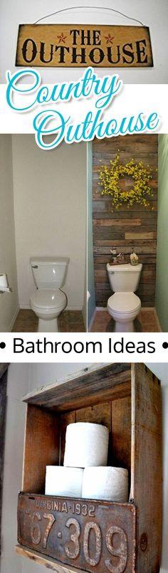 Country Outhouse Bathroom Decor Ideas - fun idea for a small bathroom Outhouse Bathroom Decor, Rustic Bathroom Vanities, Rustic Bathroom Decor, Rustic Bathrooms, Budget Bathroom, Bath Decor, Modern Bathroom, Bathroom Ideas, Small Bathrooms