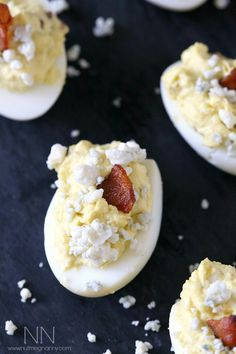 Bacon Blue Cheese Deviled Eggs from @Brandy Waterfall O'Neill {Nutmeg Nanny}