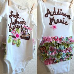 Baby Girl Owl one piece  Personalized New baby by ThePeachyOwl, $33.00