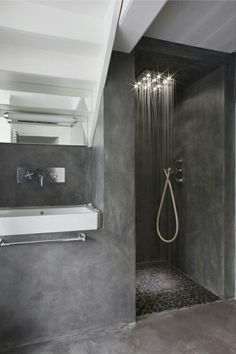 Glazed Black Mosaic Tile Concrete BathroomConcrete