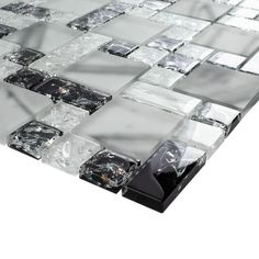 Shop for TileGen. Crushed x Crackle Glass Mosaic Tile in White/Black Wall Tile Get free delivery On EVERYTHING* Overstock - Your Online Home Improvement Shop! Glass Tile Backsplash, Glass Mosaic Tiles, Stone Mosaic, Kitchen Backsplash, Marble Tiles, Tiling, Black Wall Tiles, Black Walls, Online Tile Store