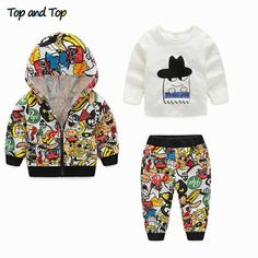 e0bdddf6e Autumn Spring Infant Clothes Baby Clothing Sets Unisex Graffiti Hooded Coat  White T-shirt Pants 3Pcs Outfits Set