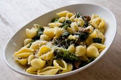 Shell Pasta with Sausage and Kale