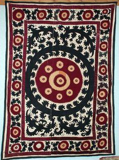 46 Rare Vintage Original Hand Embroidered Uzbek Wall Hanging Suzani 5 X 2 Ft Embroidery