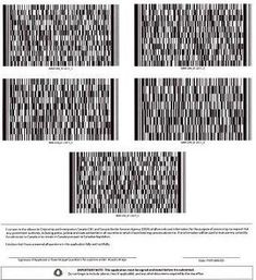 A page of barcodes