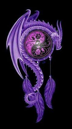 Yin Yang Tattoos, Wolf Tattoos, Animal Tattoos, Dragon Yin Yang Tattoo, Dragon Tattoos, Arte Yin Yang, Yin Yang Art, Mythical Creatures Art, Fantasy Creatures