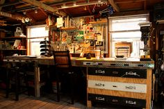 These are shots of my old workshop. I don't live at this house any more and this room still exists, it just doesn't look like this any more.  It was a man cave, a sanctuary, a workspace. Whatever you needed to get done. Enjoy.