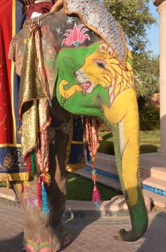 Beautiful art work painted on an iconic native Indian animal, the elephant...