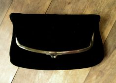 vintage classic black velvet fold-over clutch bag by Harry Levine ...could be from the 50s or early 60s  silky black velvet with gold tone frame &