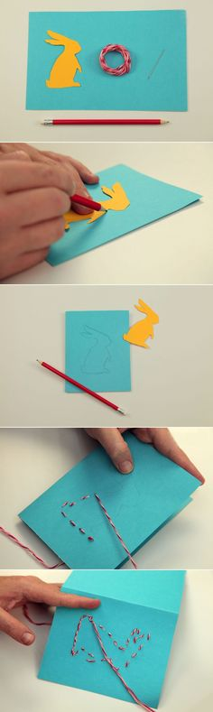 easter craft ideas kids diy easter cards sewing bunny  silhouette