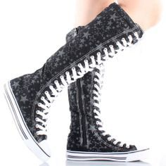 Black Star Knee High Converse Shoes Dr Shoes, Cute Shoes, Me Too Shoes, Shoes Heels, Knee High Converse, Knee High Sneakers, Outfits With Converse, Converse Shoes, Estilo Converse
