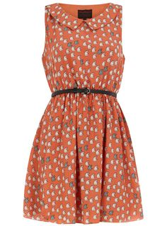 Dorothy Perkins Coral Cat Print Dress.